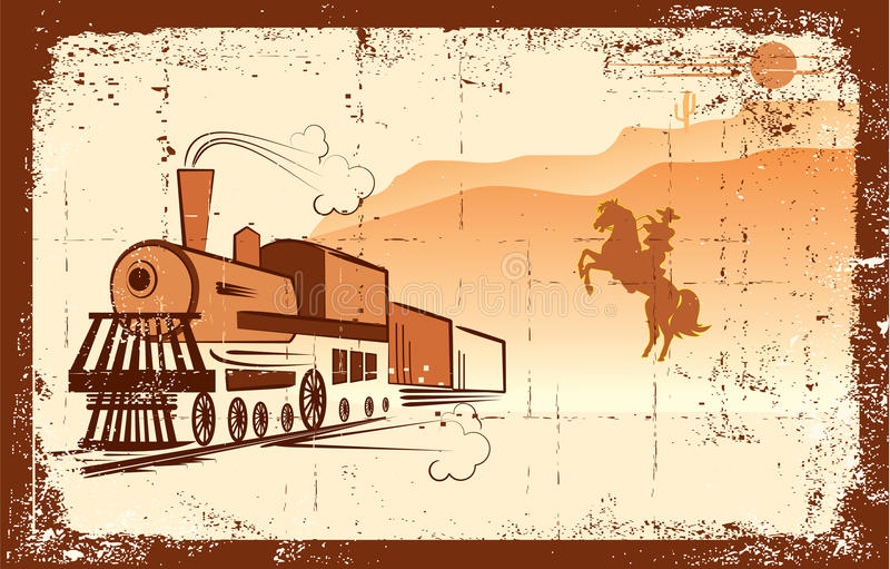 Vector cowboy and locomotive. royalty free stock photography