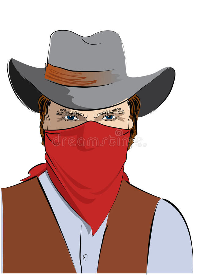 Download Vector  Cowboy With Mask.Bandit Stock Vector - Image: 12743123