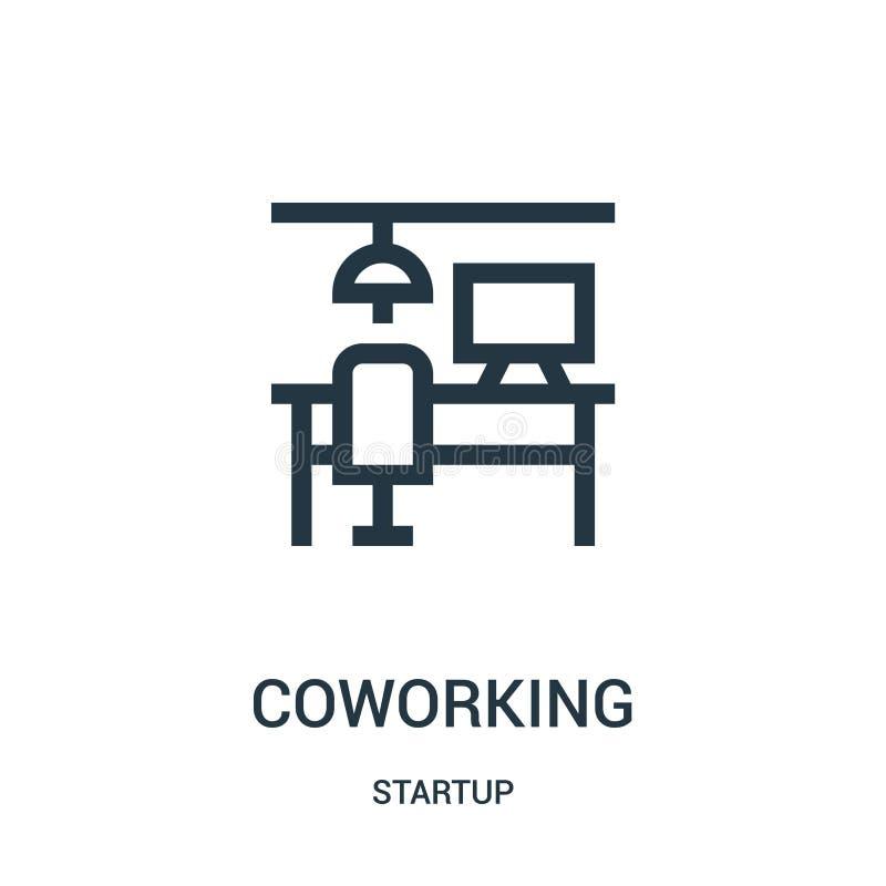 vector coworking del icono de la colección de lanzamiento Línea fina ejemplo coworking del vector del icono del esquema libre illustration