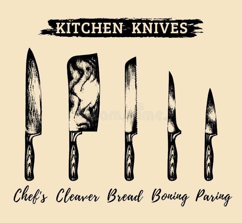 Vector a cozinha tirada mão, facas dos cozinheiros chefe ajustadas Ilustração das ferramentas dos carniceiros Esboça a coleção pa ilustração do vetor