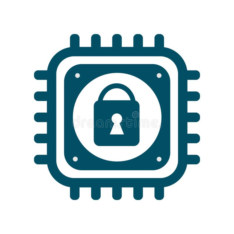 Vector CPU icon with lock sign cyber security vector illustration