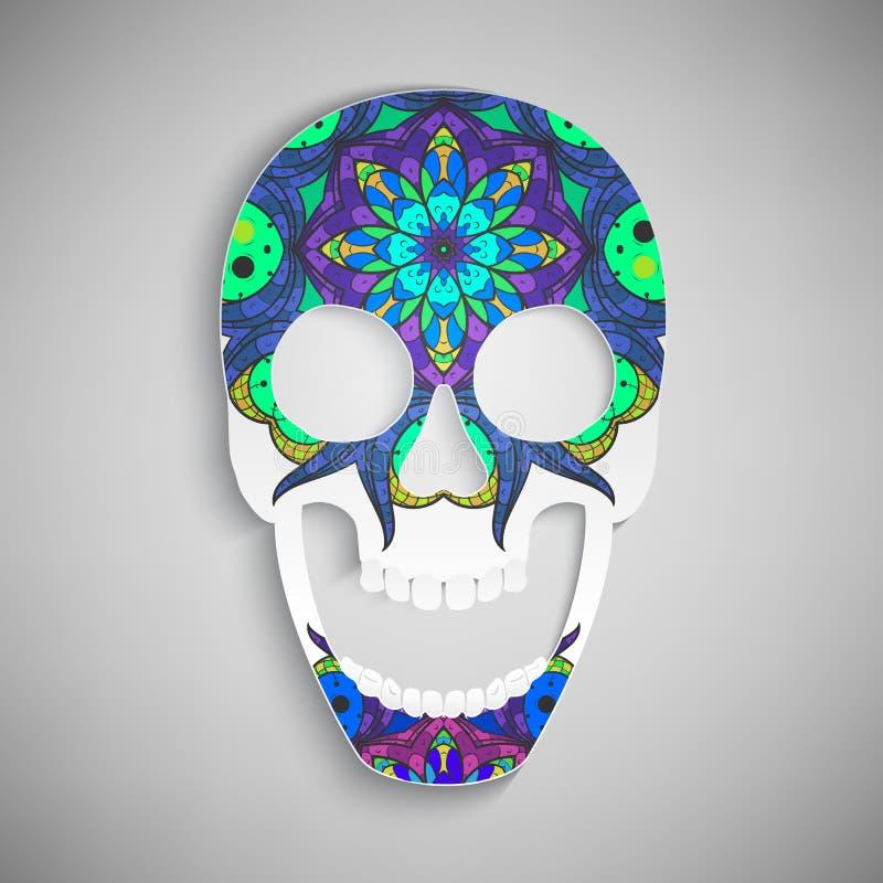 Vector Cráneo con remolinos del ornamento stock de ilustración