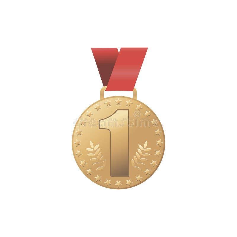 Vector crachá dourado moderno do lugar da medalha de ouro o ø Concessão dourada do desafio do jogo do esporte Fita vermelha Isola ilustração stock