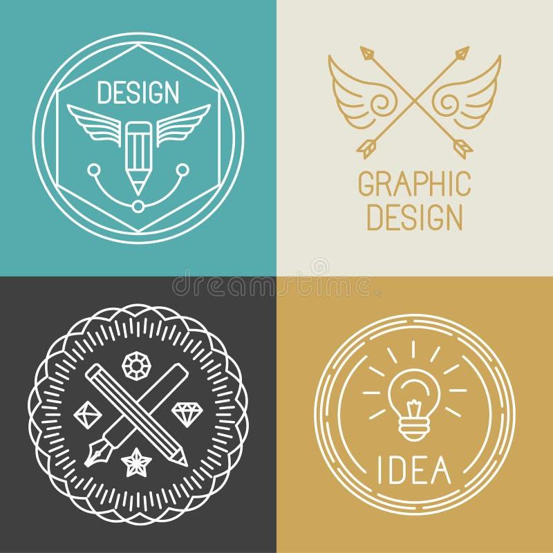 Vector crachás e logotipos do designer gráfico no estilo linear na moda ilustração do vetor