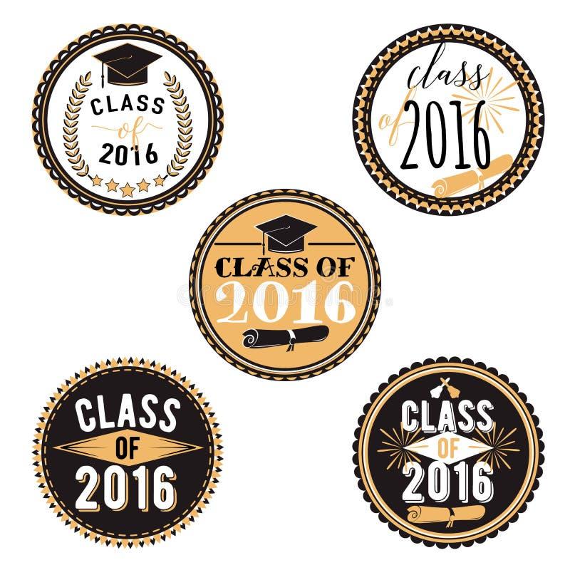 Vector crachás para o evento da graduação, o partido, a High School ou o graduado de faculdade A decoração da coleção etiqueta im ilustração do vetor