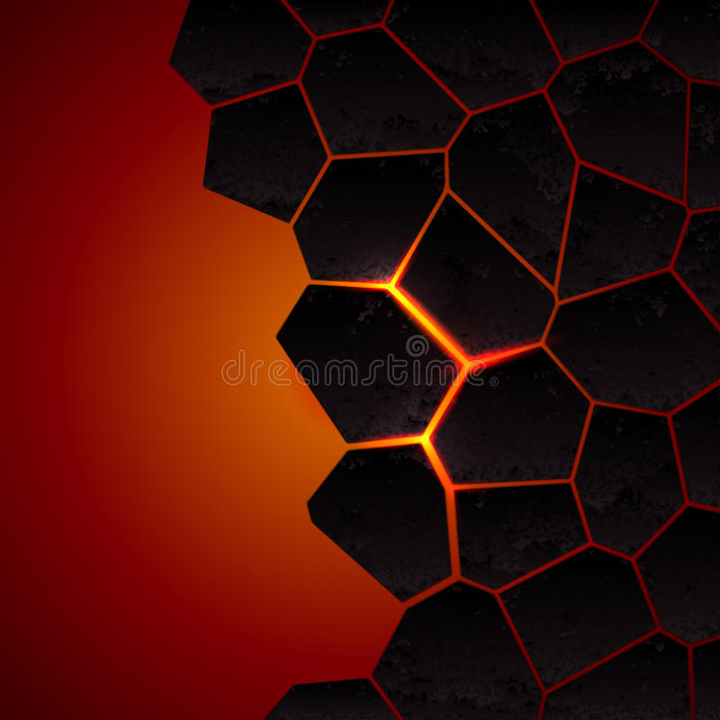 Vector cracked ground and lava. Abstract background with cracked ground and lava. Eps 10 royalty free illustration