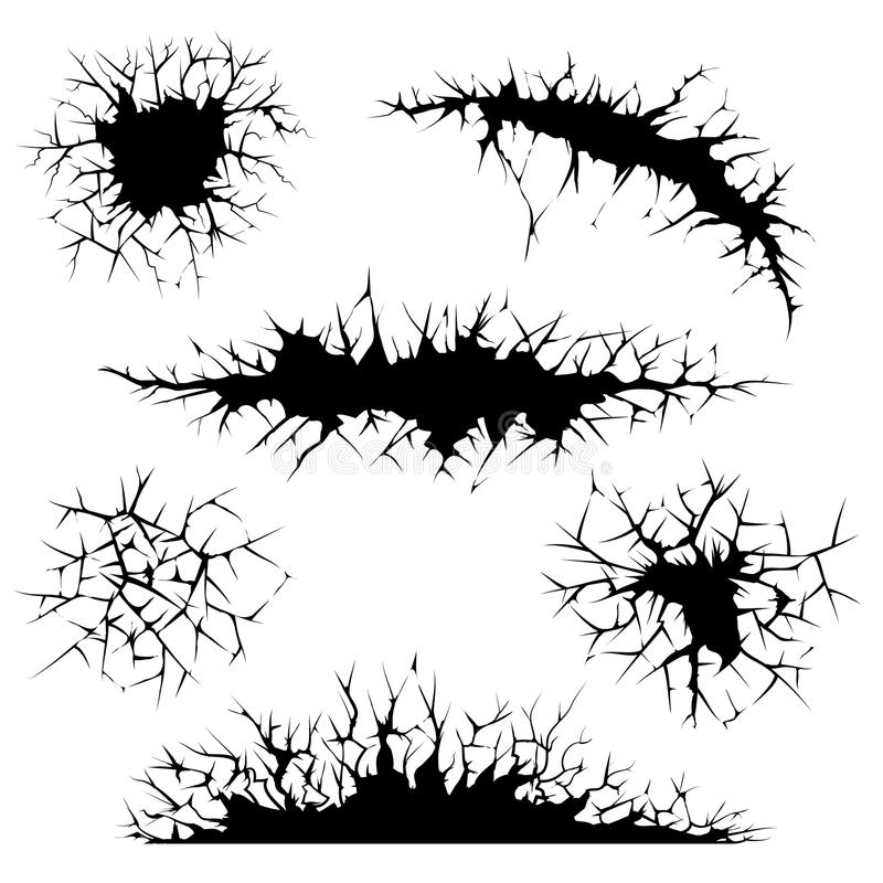 Vector cracks, cracked ground and wall vector illustration