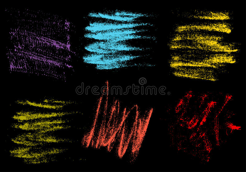 Vector crayons hand drawing abstract on black background set, ch royalty free illustration