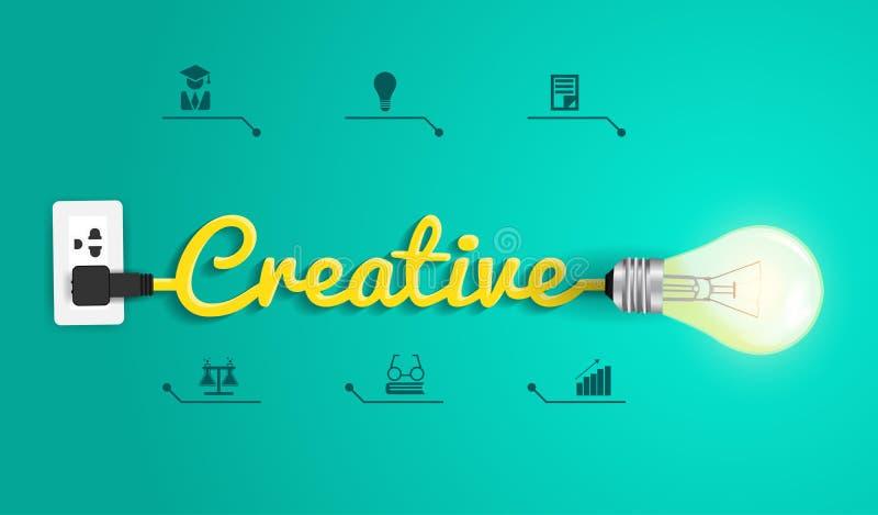Vector creatief concept met gloeilampenidee royalty-vrije illustratie