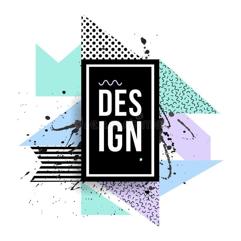 Vector creatief modern kader met geometrische vormen stock illustratie