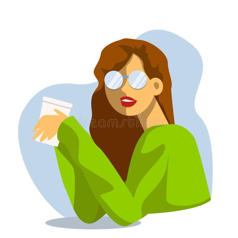 Vector creatieve beeldverhaalillustratie Drinkt de ochtend jonge vrouw koffie op het kantoor Meisje in Glazen vector illustratie