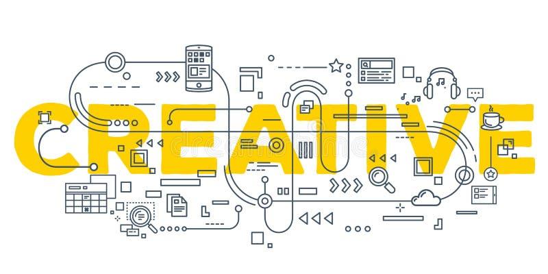 Vector creatieve illustratie die van creatief woord typograp van letters voorzien vector illustratie