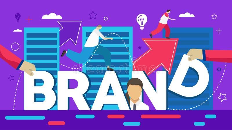Vector creatieve illustratie van bedrijfsmerkwoord het van letters voorzien typografie met lijnpictogrammen vector illustratie