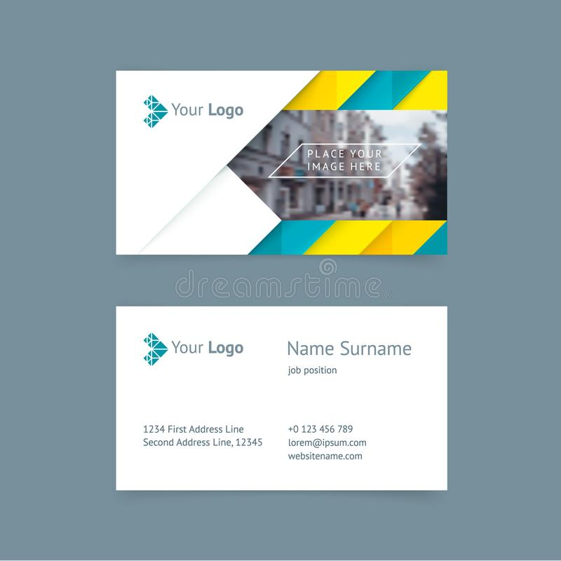 Vector creative business card template. With triangles, strip for business, technology. Simple and clean design with a logo and a place for a photo. Creative royalty free illustration