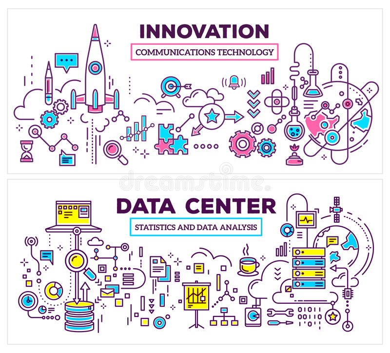 Vector creative concept illustration of data center and innovation technology on white background. Horizontal composition royalty free stock images