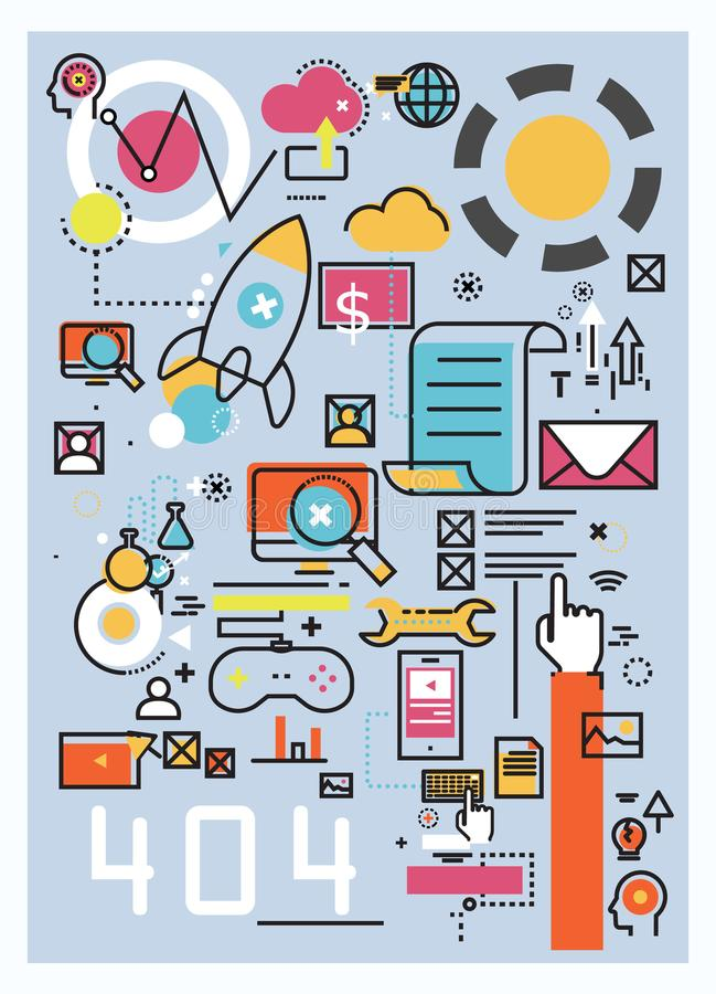 Vector creative concept illustration of software and startup on stock illustration