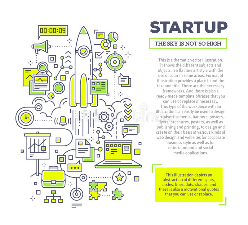 Vector creative concept illustration of startup with header and. Text on white background. Technology startup composition template. Hand draw flat thin line art royalty free illustration