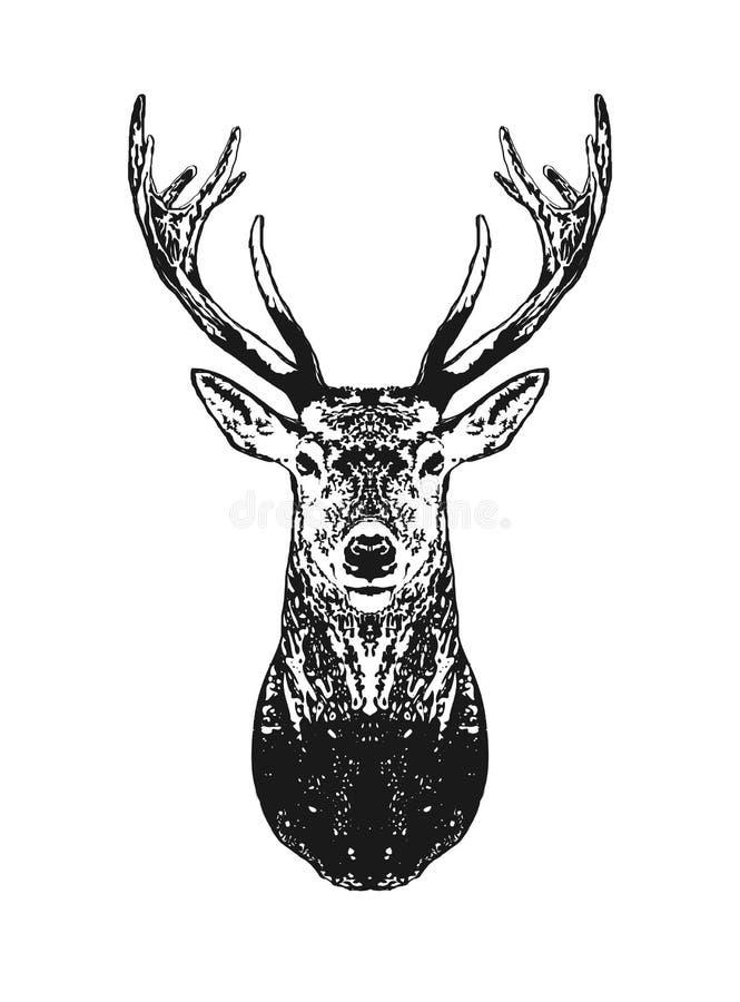Silhouette of deer head engraving. royalty free illustration