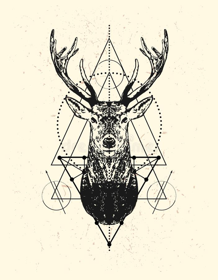 Deer head with triangle background. vector illustration