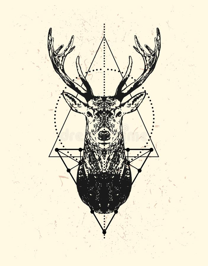 Black deer head with triangle background. royalty free illustration
