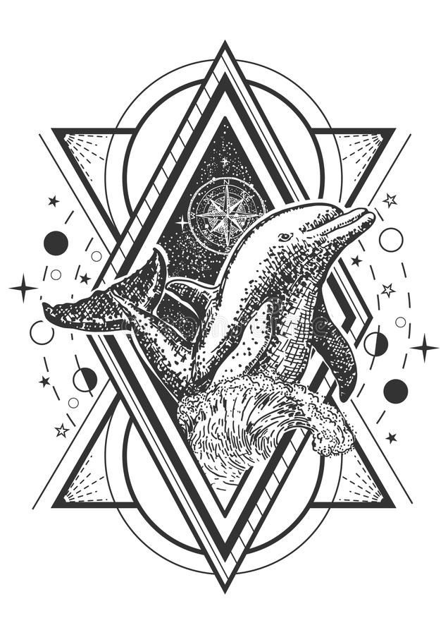 Vector creative geometric ocean dolphin tattoo art style design stock illustration