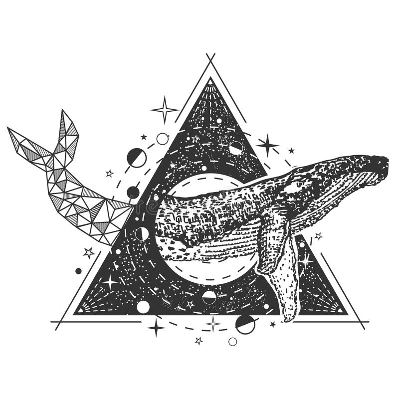 Download Vector Creative Geometric Whale Tattoo Art Style Design Stock