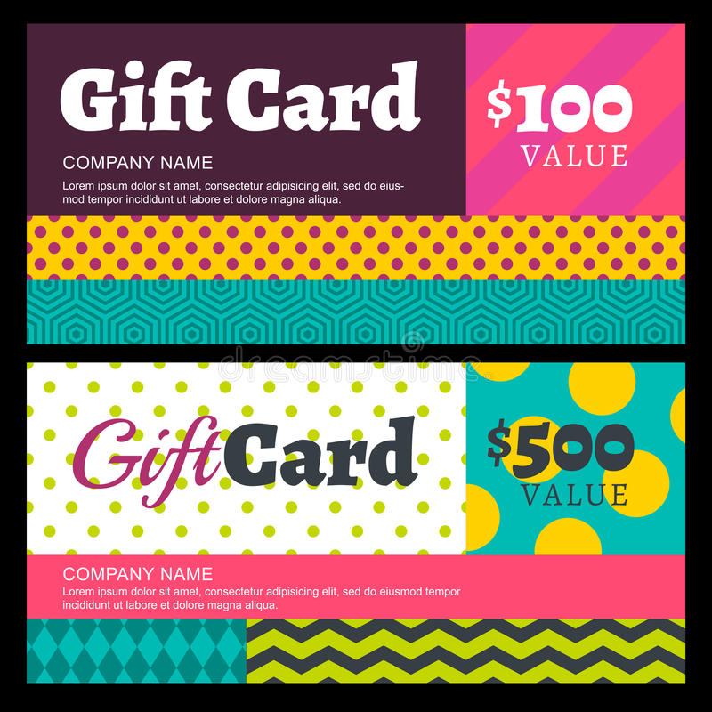 Free Vector Creative Gift Card Or Voucher Background Template. Multic Stock Photography - 60074202