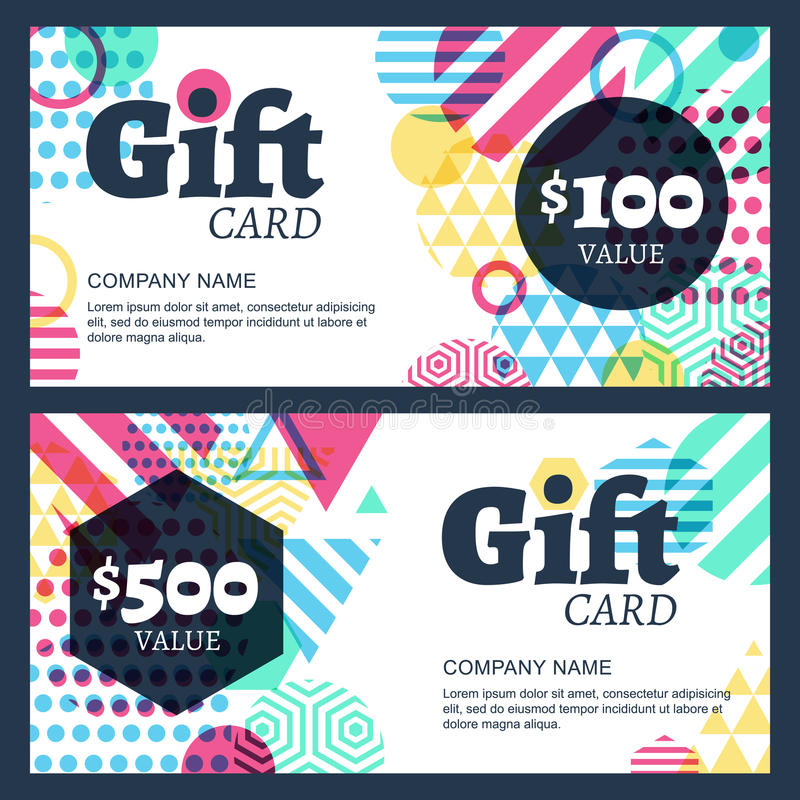 Vector creative gift voucher or card background template. Abstra stock illustration
