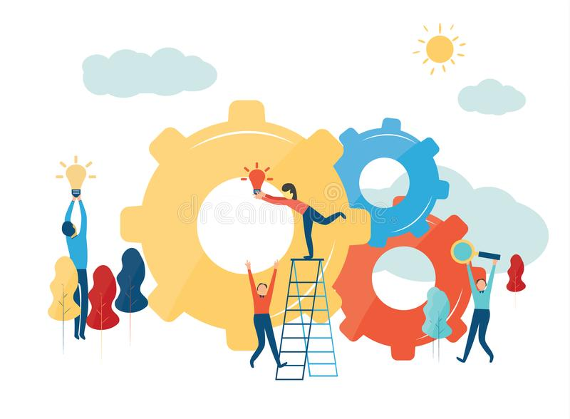 Vector creative illustration of business graphics, the company is engaged in the joint construction of column graphs stock illustration