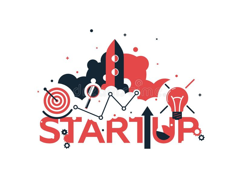 Vector creative illustration of business startup word lettering typography with line icons, tag cloud on white. Background. Startup technology concept. Modern royalty free illustration