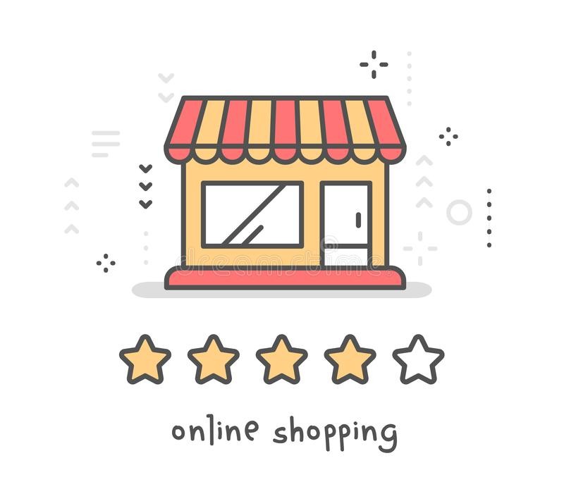 Vector creative illustration of red and yellow cartoon store building on white background. Online shopping service. stock illustration