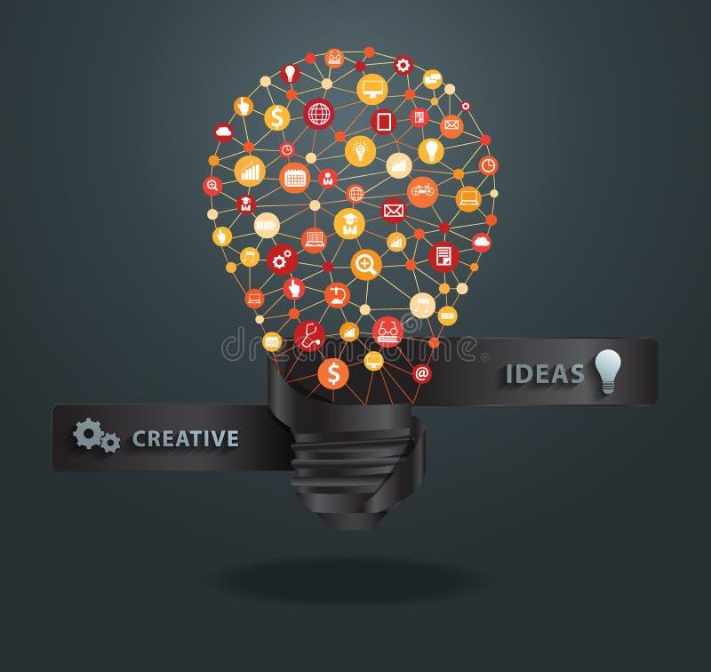 Vector creative light bulb idea royalty free illustration