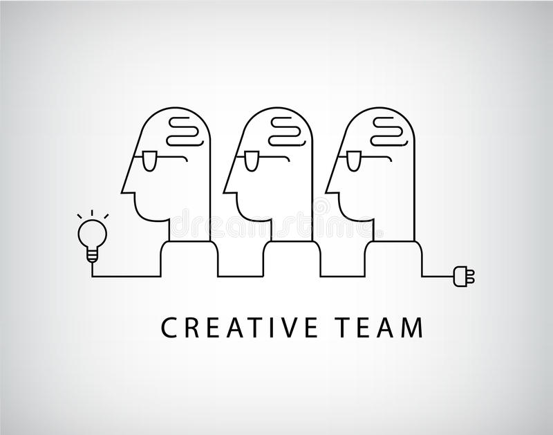 Vector creative team, working group logo, linear, social net royalty free illustration