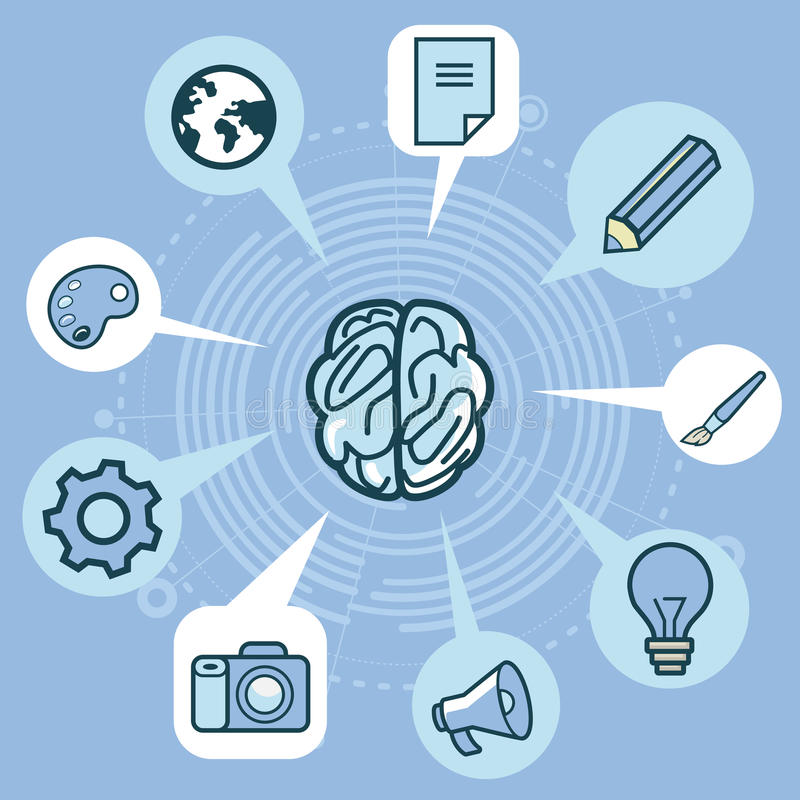 Download Vector Creativity Concept - Brain And Icons Stock Vector - Image: 30631976