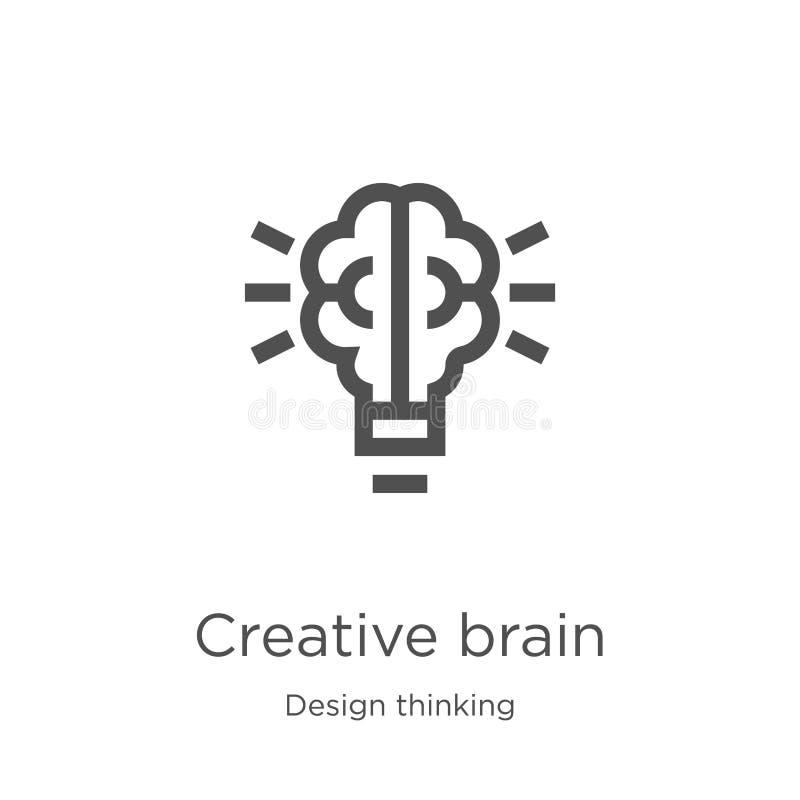 vector creativo del icono del cerebro de la colección de pensamiento del diseño Línea fina ejemplo creativo del vector del icono  ilustración del vector