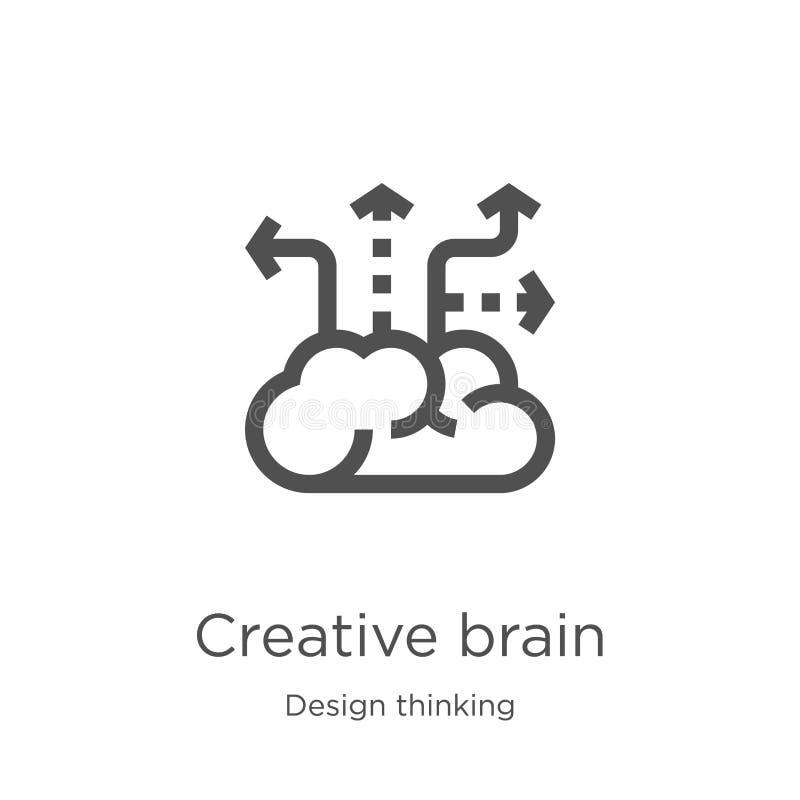 vector creativo del icono del cerebro de la colecci?n de pensamiento del dise?o L?nea fina ejemplo creativo del vector del icono  ilustración del vector