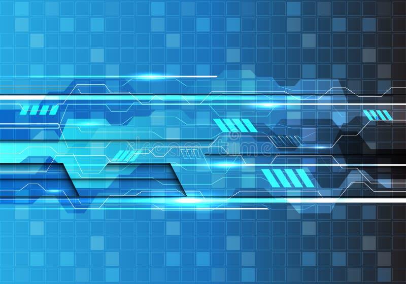 Vector creativo futurista moderno del fondo de la tecnología de la luz del polígono del cuadrado del diseño azul abstracto del mo stock de ilustración