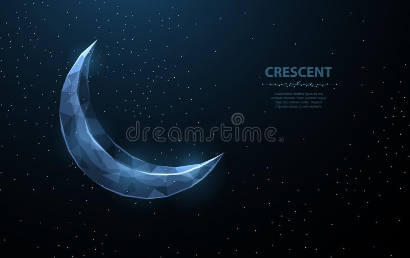 Vector crescent moon. Abstract polygonal wireframe on dark blue night sky background. Night symbol. Arabic, islamic. Vector crescent moon. Abstract polygonal royalty free illustration