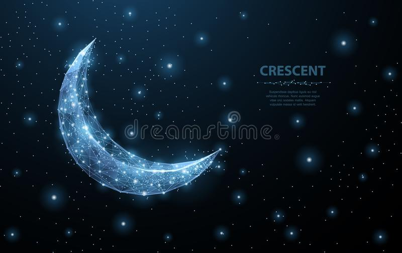 Vector crescent moon. Abstract polygonal wireframe on dark blue night sky background. Night symbol. Arabic, islamic. Vector crescent moon. Abstract polygonal stock illustration