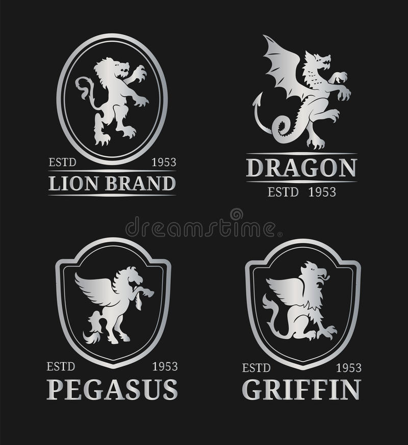 Vector crest monogram templates. Luxury pegasus,dragon, lion,griffin design. Graceful animals silhouettes illustrations. royalty free illustration
