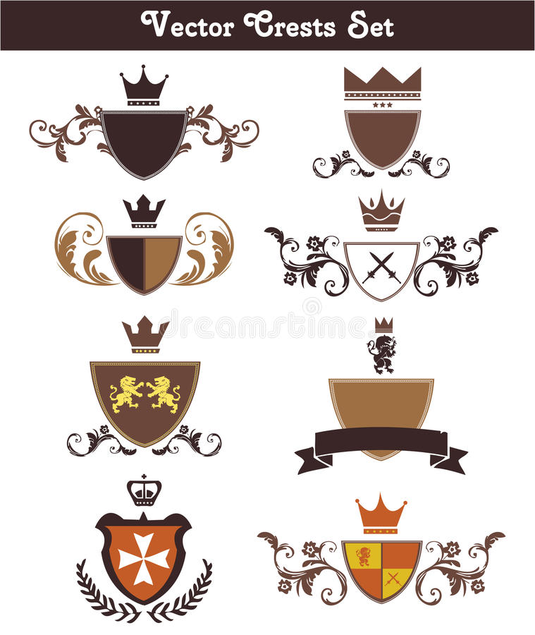 Free Vector Crests Set Royalty Free Stock Images - 30560409
