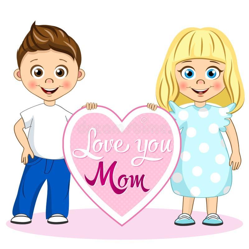 Vector crianças bonitos com amor do cartaz você mamã Ilustração à moda das crianças ilustração do vetor