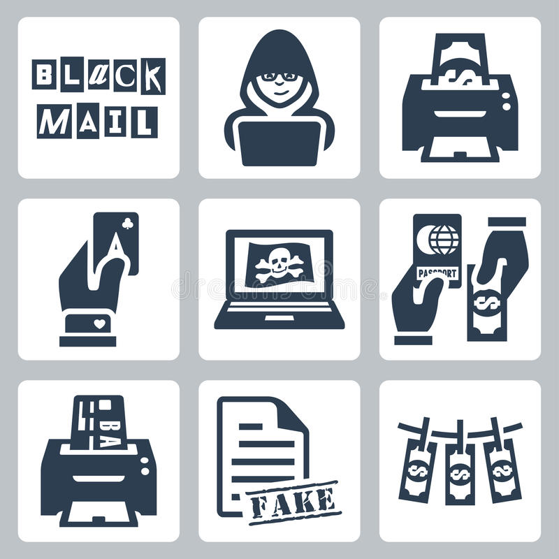 Vector criminal activity icons set stock illustration