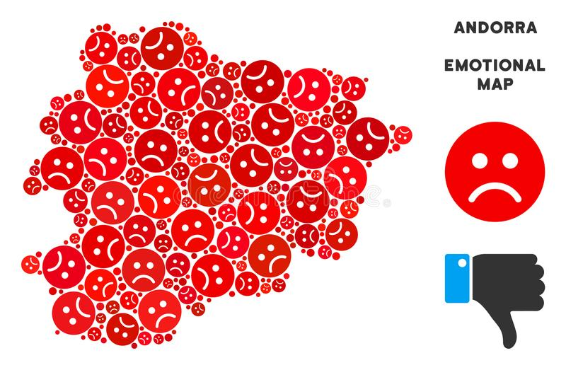 Vector Crisis Andorra Map Composition of Sad Smileys. Emotion Andorra map composition of sad smileys in red colors. Negative mood vector concept of depression royalty free illustration