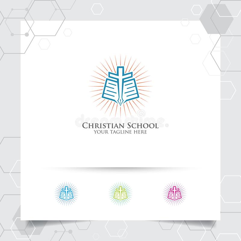 Vector cristiano del diseño del logotipo de la escuela con el concepto de libro, de pluma y de ejemplo cruzado del icono libre illustration