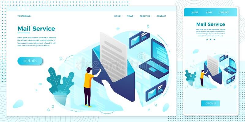 Vector online mailing service open letter web set. Vector cross platform illustration set, browser and mobile phone - mailing service, man holding open letter stock illustration