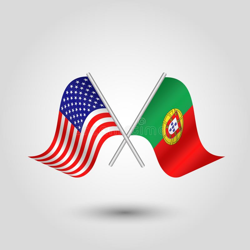 Free Vector Crossed American And Portuguese Flags On Silver Sticks - Symbol Of United States Of America And Portugal Royalty Free Stock Photo - 117071645