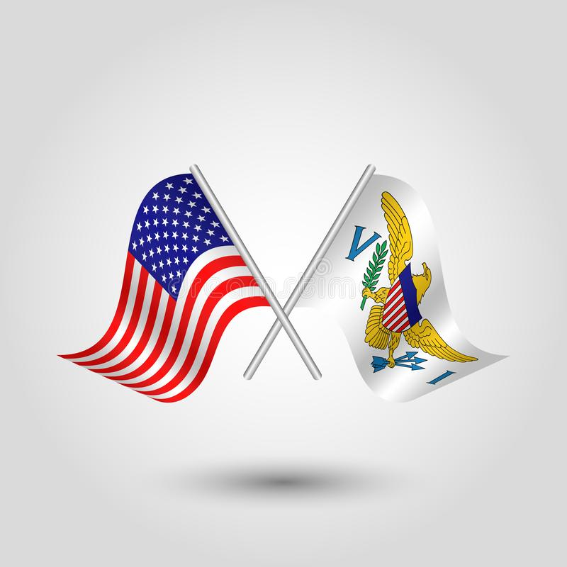Vector crossed american and islander flags on silver sticks - symbol of united states of america and virgin islands vector illustration