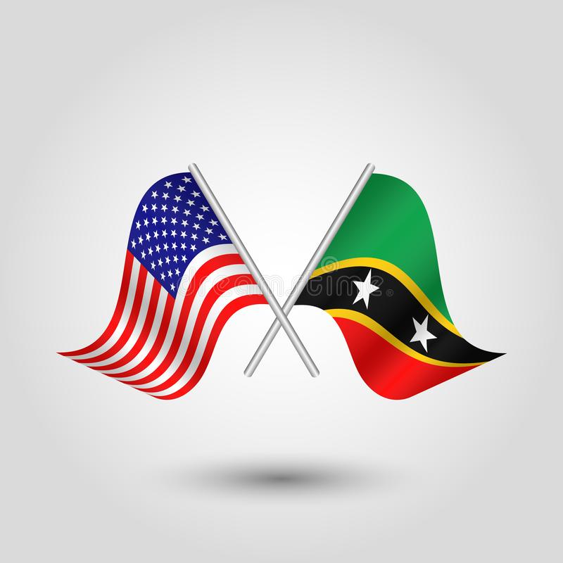 Vector crossed american and kittian nevisian flags on silver sticks - symbol of united states of america and kitts and nevis stock illustration
