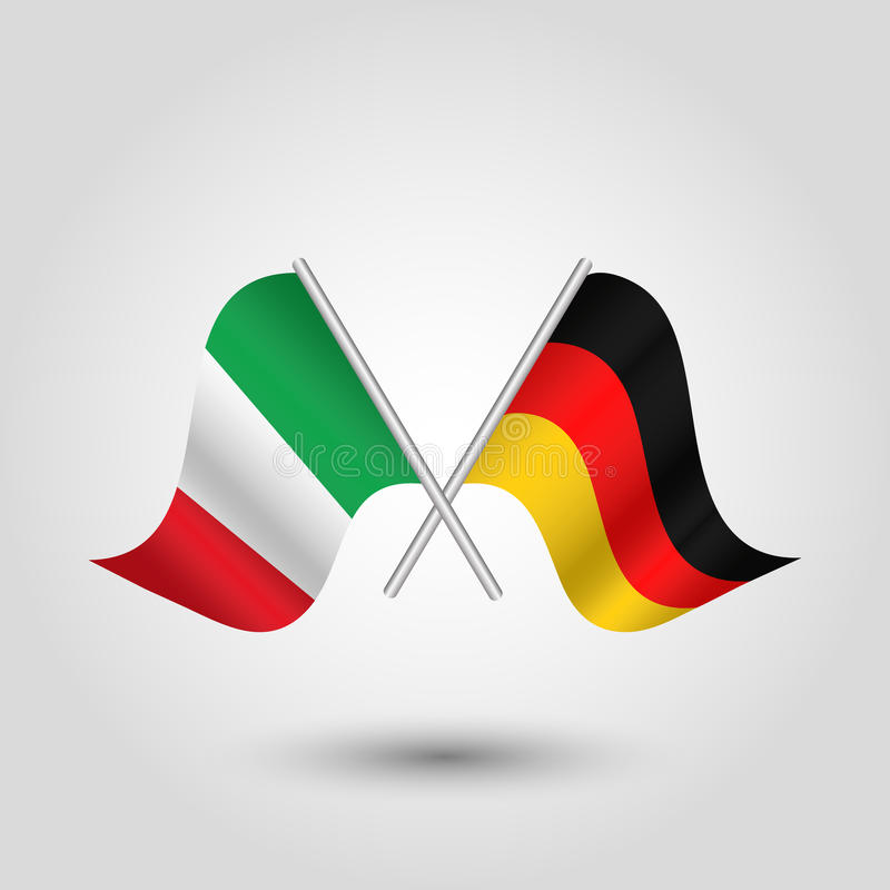 Vector Crossed Italian And German Flags On Silver Sticks Symbol Of